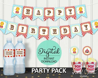 Circus Birthday Party Package, Carnival Birthday, Circus Party, 1st birthday, Popcorn, Circus, Printable pack, INSTANT DOWNLOAD #5423