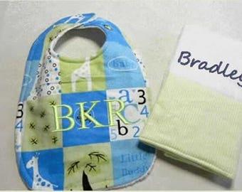 Personalized Baby Bib Burp Cloth Set, custom bibs, baby boy bibs,baby girl bibs, baby shower gift, embroidered bib, custom burp cloth,