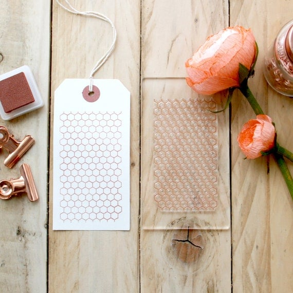 Honeycomb Hexagon Geometric Clear Rubber Stamp