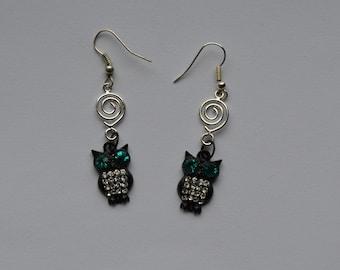 Owl Wire Circle Swirl Earrings