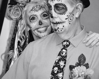 adult / teen neck tie made from black and white skull queens and king day of the dead cotton fabric