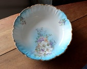 RESERVED FOR LAURA Vintage Large Bowl Royal Bayreuth White Lilies Blue Gold Trim Easter Lilies Royal Bavarian Germany China Vegetable