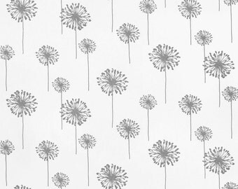 SHIPS SAME DAY Grey Floral Fabric, Premier Prints Dandelion Twill White Storm Fabric, Floral Fabric, Grey Curtain Fabric - by the yard