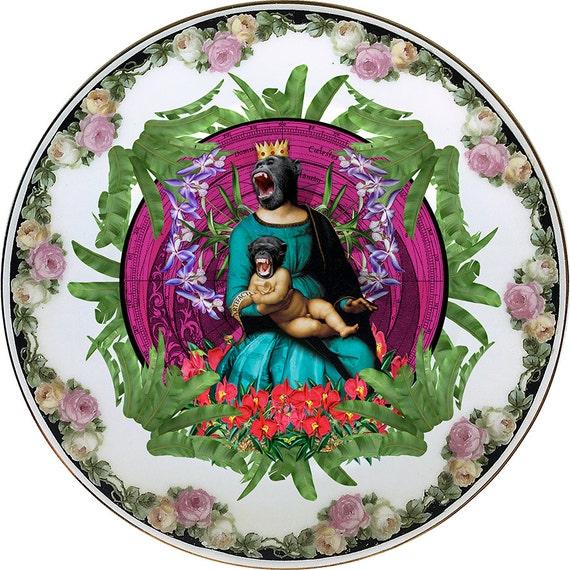 Queen of the apes - Virgin - Madonna - Davinci - Vintage Porcelain Plate - #0436