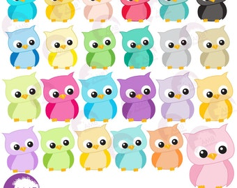 Owl Clipart, Colorful Baby Owls for Clipart and Card Design, Commercial Use, AMB-973