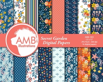 Floral papers, Secret GardenDigital Papers, Shabby Chic papers, Oranges and blues, scrapbook papers, flower paper, digital paper, , AMB-1835