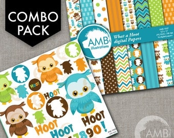 COMBO Owl Clipart and Digital Papers Pack, Forest animals, Birthday Party Owls Clipart, Baby Owlettes, Commercial Use, AMB-1737