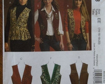McCalls M5933, sizes 14-20, lined vests, misses, womens, UNCUT sewing pattern, craft supplies