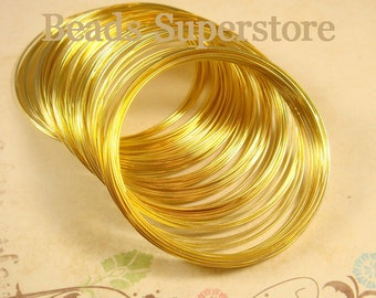 55 mm Gold-Plated Steel Memory Wire - Nickel Free, Lead Free and Cadmium Free - 30 Loops