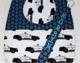 Personalized Baby Gift Set - Baby Police Set - Police Bib, Burp Cloth, Personalized Pacifier Clip, Police Cars, Police Man, Police Woman