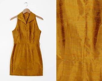 Vintage handmade 60s Mod Mini Shangtun Silk Dress Size Small