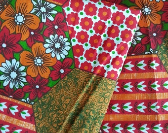 Nordic amazing decorative fabric with patchwork pattern. Mid mod vintage 70's design.