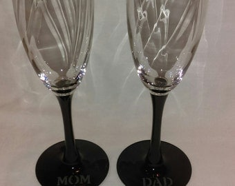 Glass Etched Champagne Glasses//Mom and Dad