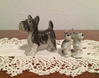 POODLE CIRCUS / / Miniature Figurine Set - Scottish Terrier breed of dog, in excellent condition, made in Japan.
