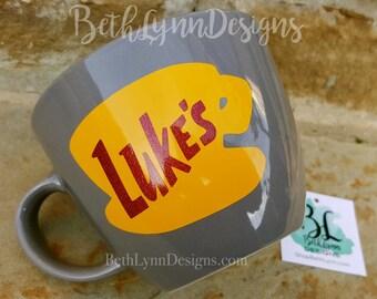 Glitter| Slate Gray | ORIGINAL Luke's Diner Mug | Big Mug | Lukes mug | Lukes Diner | Gilmore Girls | Inspired | VINYL decal logo BOTH sides