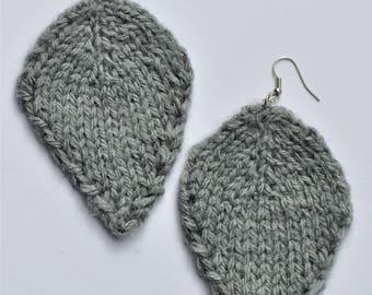 Grey Leaf Earrings