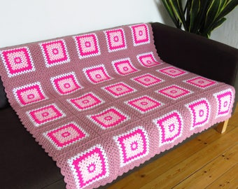 Pink Blanket Pink Throw Blanket Pink Crochet Blanket Blush Pink Blanket READY TO SHIP