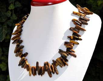Tiger eye Irregular stick Beads. Gemstones Chips. Chips Tiger eye.