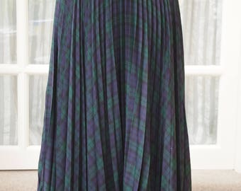 Annabelinda Oxford Long Pleated Skirt Size 12 Green Tartan 1990s