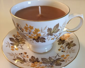 Teacup candle, Royal Vale, stunning autumn style brown leaf & yellow flower design, floral scent tea coloured wax, birthday gift