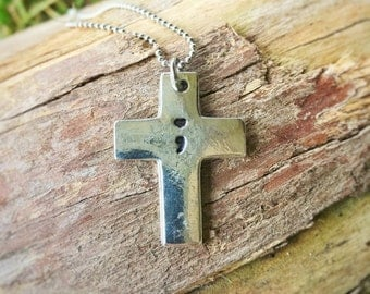 Hand Stamped semicolon cross necklace - Joshua 1:9