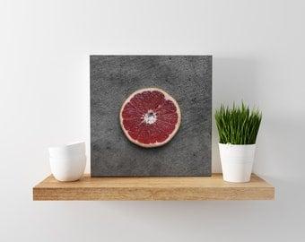 ruby grapefruit // food photography print // canvas print // kitchen wall art // dining room wall art // rustic wall art // citrus fruit
