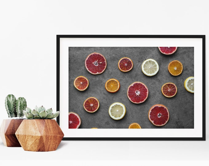 Featured listing image: citrus v. three // food photography print // kitchen decor // kitchen wall art  // dining room wall art // rustic wall art // citrus fruit