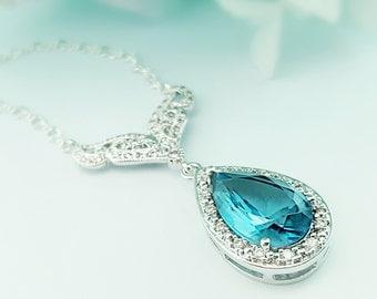 Aquamarine Wedding Necklace, Cinderella Fairytale Jewelry, Aqua Bridal Necklace, Blue Teardrop CZ Necklace, Blue Bridal Jewelry, Prom, N2001