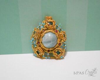 Larimar flower pendant