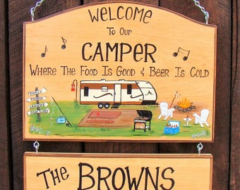 LARGE Personalized Camping CAMPER  or Campsite Rv Sign Hand Painted with your Camper Grill Fishing Beer Fire Music RV Trailer Custom Signs