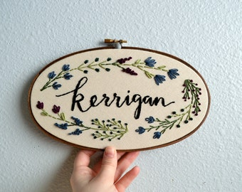 Custom Family Name Embroidery Hoop, Baby Name Embroidery Hoop Art, Last Name Sign, Needlepoint Wall Hanging, Gender Neutral, Botanical Art