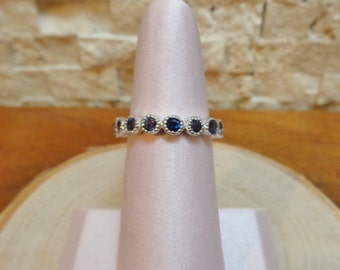 Iolite Eternity Stacking Band in Sterling Silver, Size 7