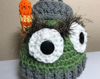 Crochet grouch NB through adult hat photography prop