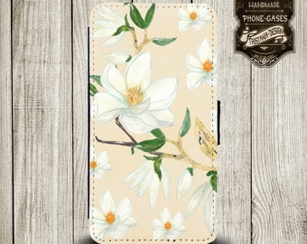 """Handytasche, Leather Wallet Phone Case  iPhone & Samsung,Sony Xperia  """" Blumen """""""