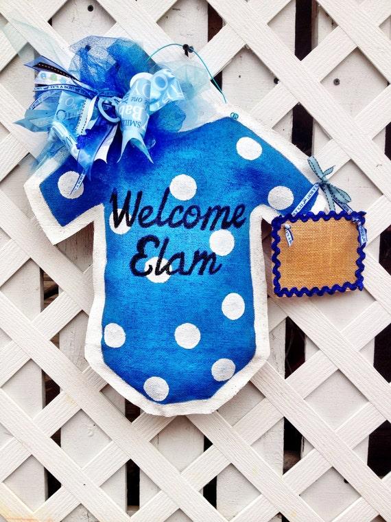 Baby boy burlap door hanger hospital door hanger new for Baby boy door decoration