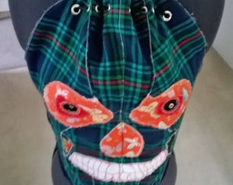 "Clowning Around carnival skull green tartan plaid corset top 30"" waist and back laced with twin bells"