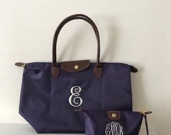 Preppy Nylon Tote Bag - Monogram - Nylon Tote Bag - Fun Colors
