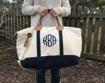 Navy Weekender Bag - Monogram - Weekender Bag - Canvas