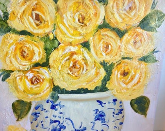 "CLEARANCE!!Original painting, "" delicate roses""  12 by 12. Yellow roses  blue China vase  still life"