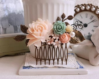 Bridal hair comb Muted peach Soft apricot rose dusky sage green soft peach flowers Rustic wedding flower comb