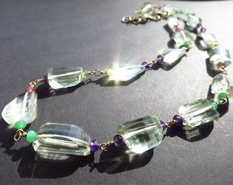 Gemstone colorful necklace prasiolite Birthstone August Prasiolite amethyst, chrysoprase and pink tourmaline gold filled bride present