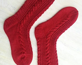 "KNITTING PATTERN, Cable Socks, "" Put Your Right Foot In"" , Three Sizes: Children's, Women's, Men's, Mirrored Cable Pattern, Half Brioche"