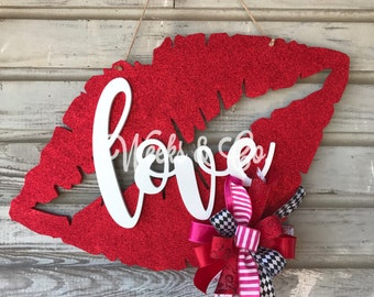 Red Glitter Love Lips Door Hanger Sealed with a Kiss Love is in the Air