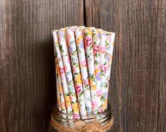 100 Pink, Yellow and White Floral Paper Straws, Rose Pattern, Wedding or Bridal Shower Supply, Paper Goods, Disposable Party Straws, Floral