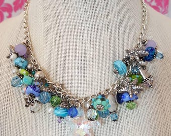 "Lampwork bead and silver charm necklace, crystal necklace, statement necklace, ""Seaside"" necklace"
