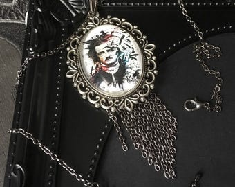 Edgar Allan Poe, Poetry Pendant. Gift For Her, Gothic Cameo Necklace, Nevermore Pendant, Gothic Raven Pendant, Raven Jewelry, Gothic Jewelry