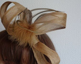 Old gold sinamay fascinator  and feathers on headband