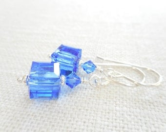 Sapphire Swarovski Crystal Cube Earrings, Silver Beaded Drop Earrings, Blue Crystal Dangle Earrings, September Birthstone Earrings