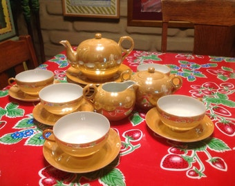 Beautiful delicate Japanese luster ware tea set- 20 pieces- teapot, 5 cream and sugar, 5 cup & saucer, and 5 dessert plates