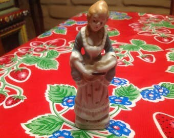 Vintage hand painted ceramic Colonial woman figurine- Japan